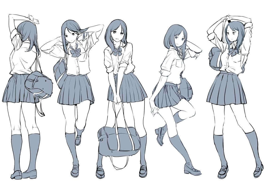 ツインポー 所繪製的女高中生動作集