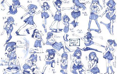 さきの新月用原子筆繪製的女高中生姿勢集