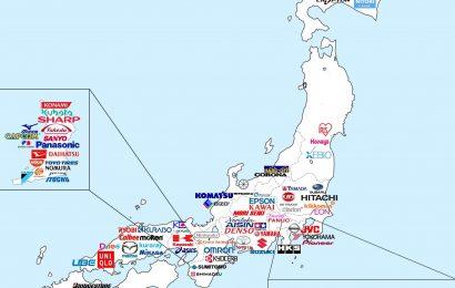 日本知名品牌總部所在地圖